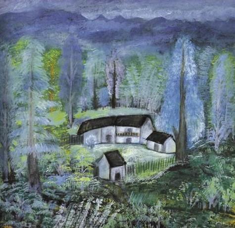 杭州西湖风景水彩手绘图片