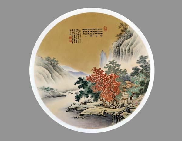 古雅彩瓷盘