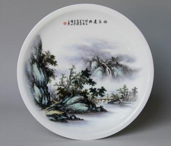 《临泉遣兴》粉彩瓷盘