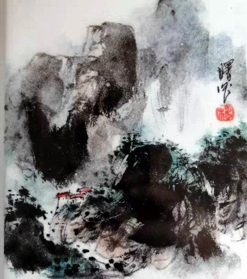 水墨山水瓷画